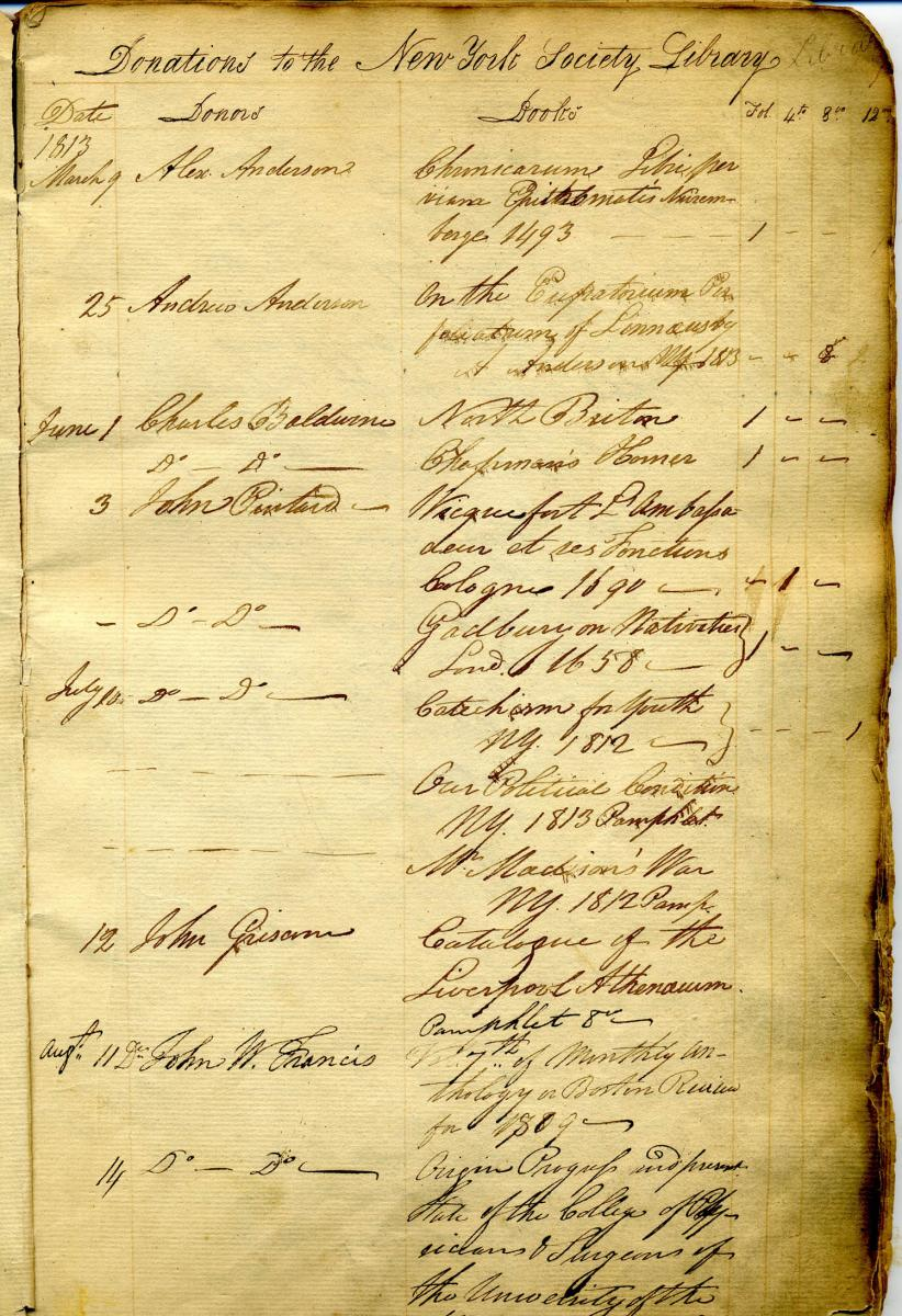 Page one of our 1813 gifts ledger, recording Anderson's gift of the Nuremberg Chronicle on March 9, 1813.