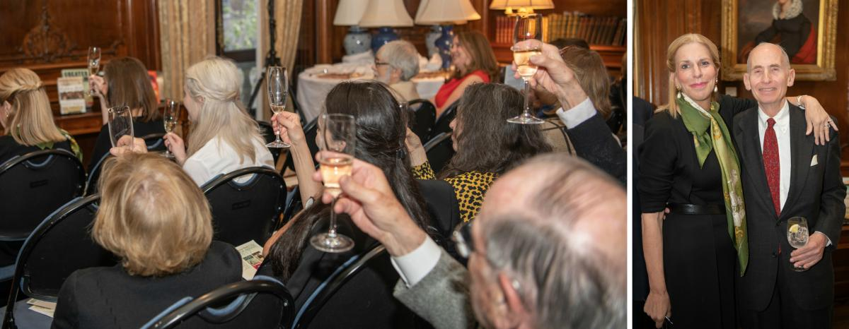 Attendees toast the winners; at right, trustee Ellen M. Iseman with Warren Wechsler, Chair of the Book Awards Jury