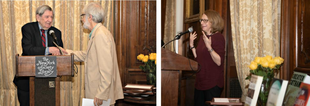 Presenter Karl E. Meyer congratulates winner Mike Wallace; winner Roz Chast accepts the award for GOING INTO TOWN