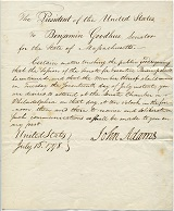 Letter from John Adams in the Library's special collections.