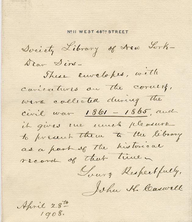 Letter accompanying Caswell's Donation.