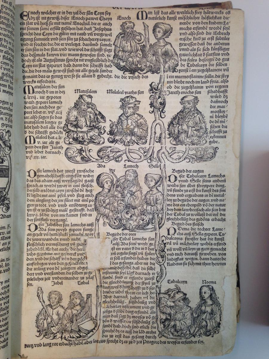 Folio XX of the Nuremberg Chronicle, showing the family tree of Enoch, son of Cain, and his descendents. Note how the running title and page number were trimmed for binding, and holes in the paper were filled in at different times with two different kinds of materials.