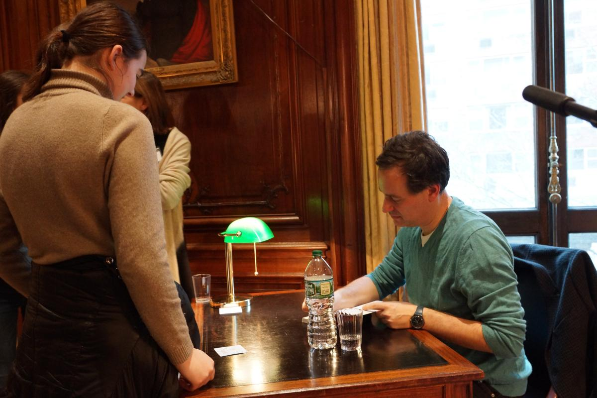 David Levithan signs books for his eager readers.