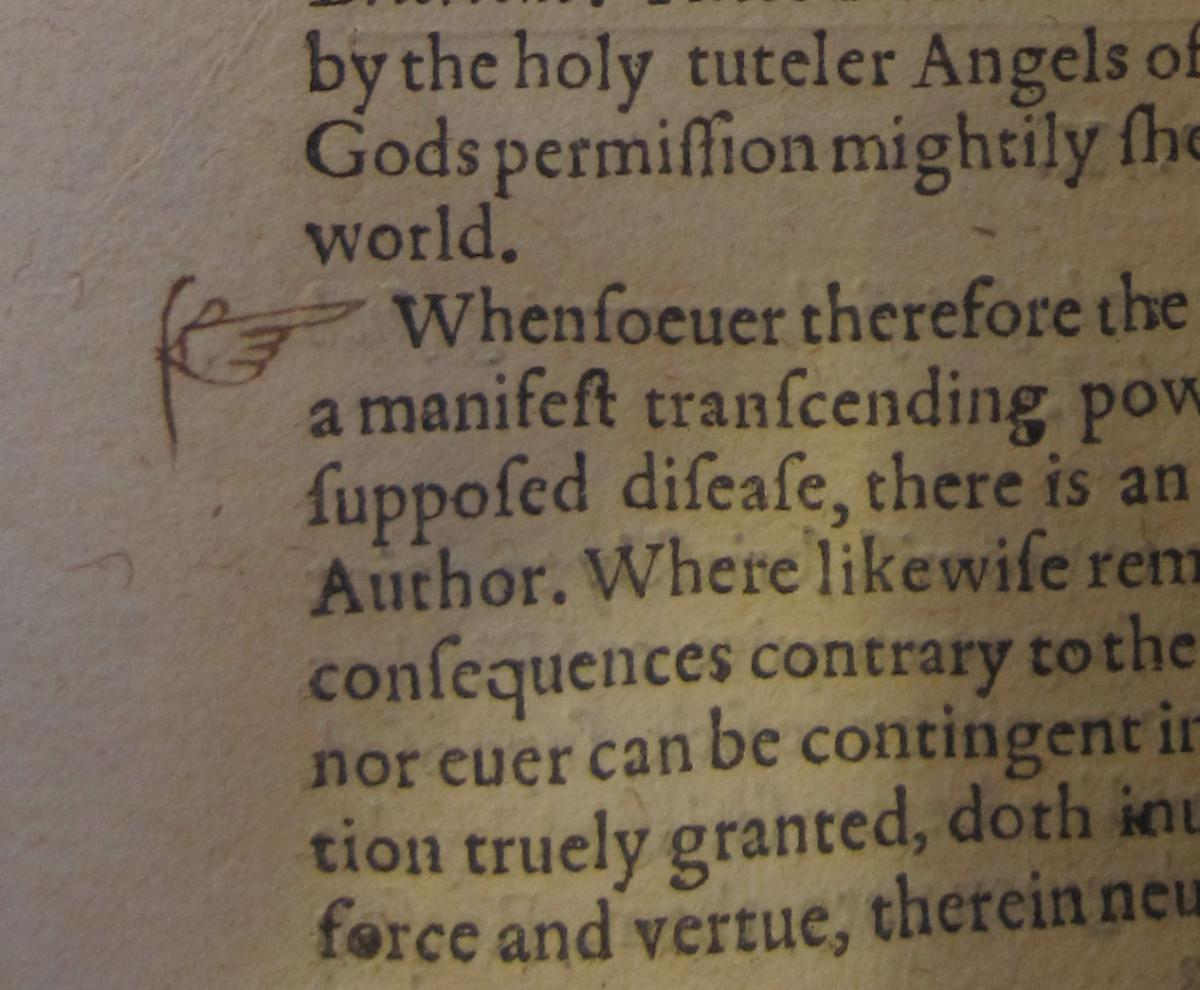 "Adam Winthrop added a manicule to his copy of John Cotta's ""Tryall of Witchcraft"" (1616)"