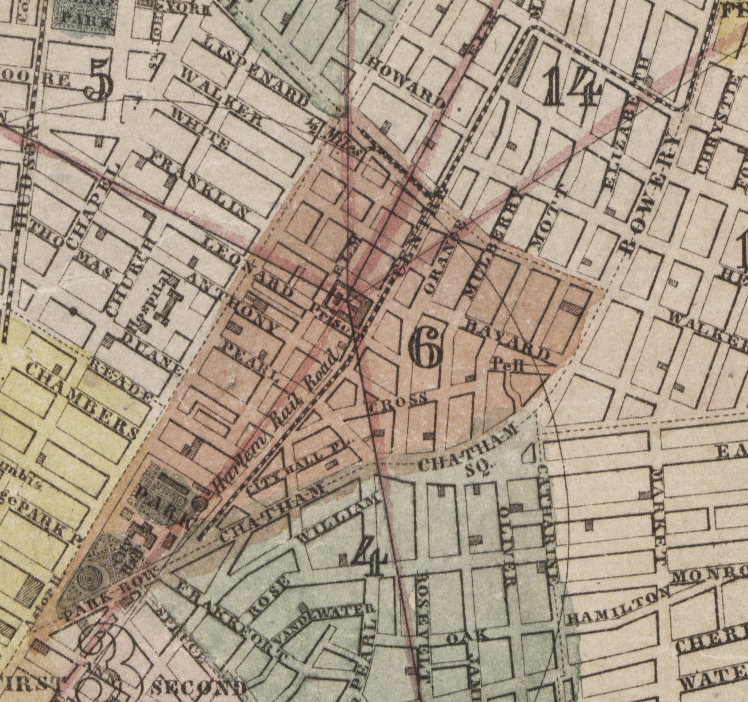 The 6th Ward in 1850. The Society Library was on the southeast corner of Broadway and Leonard.