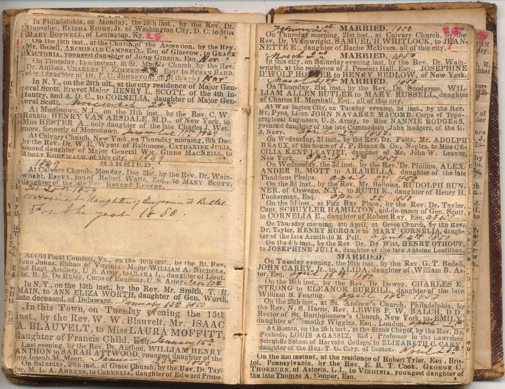 MARRIED 1849: At Cincinnati, May 8th, by the Rev. G. Driseoll, Alex. J ...