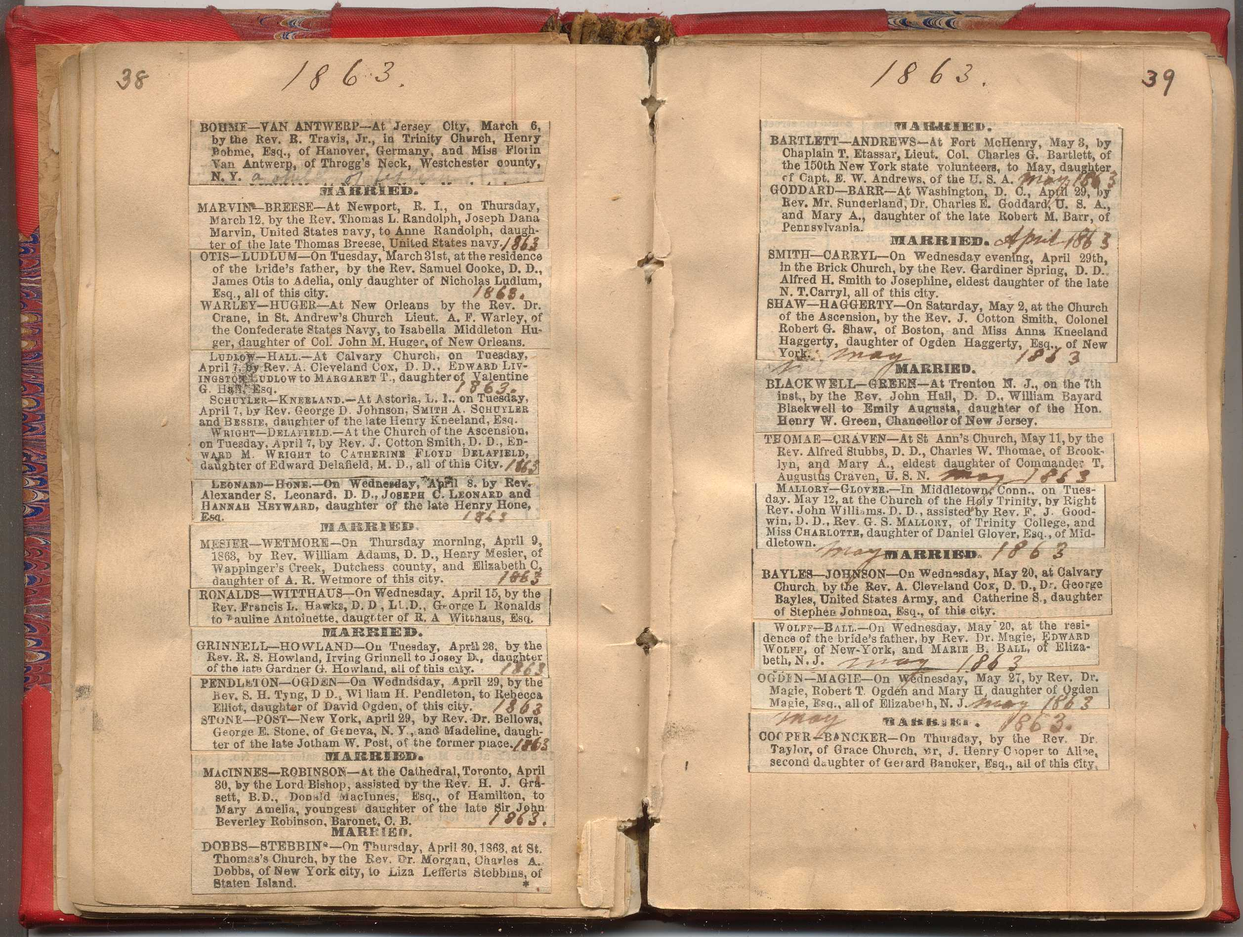 NYC Marriage & Death Notices 1857-1868 | New York Society ...
