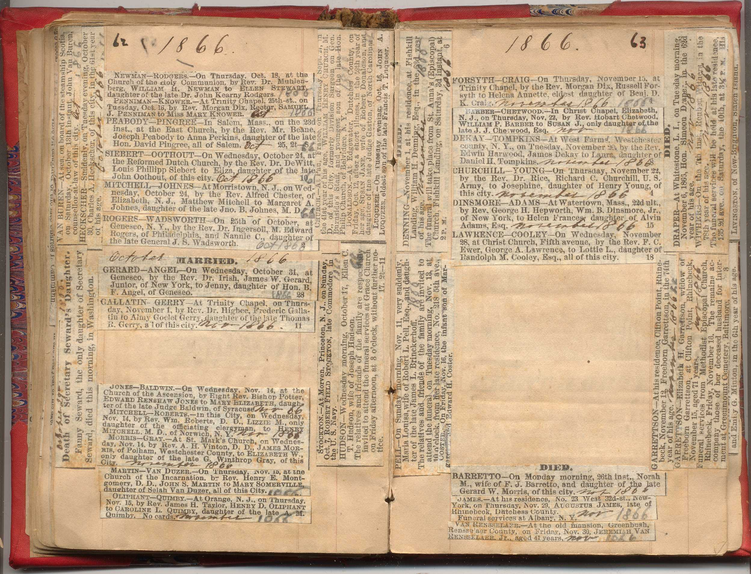 NYC Marriage & Death Notices 1857-1868 | New York Society