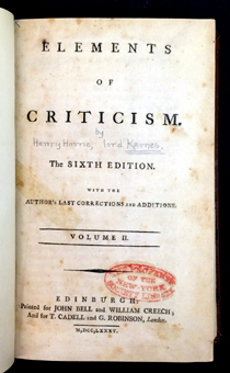 Lord Kames' Elements of Criticism