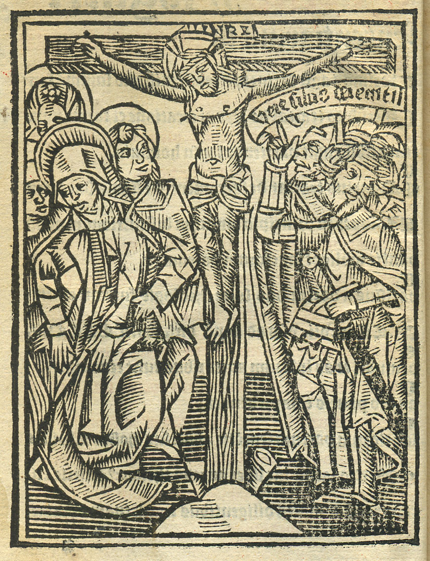 Woodcut of the Crucifixion, from Peter Lombar's Textus magistri Sententiarum (Paris, 1510)