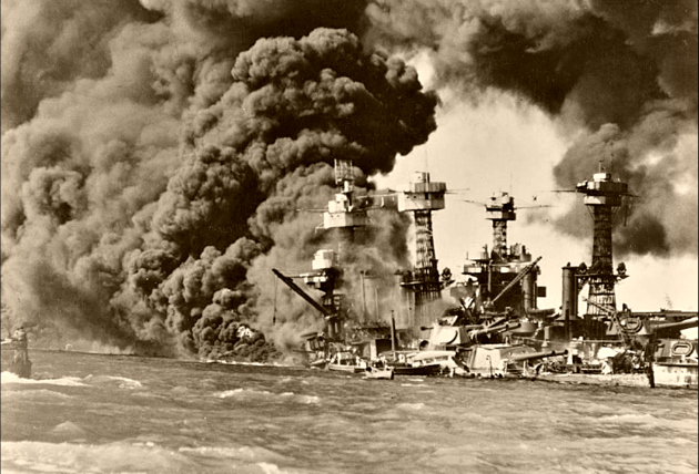 USS West Virginia on fire in Pearl Harbor