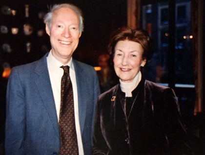 Ms. Hazzard with then-Head Librarian Mark Piel, 2004