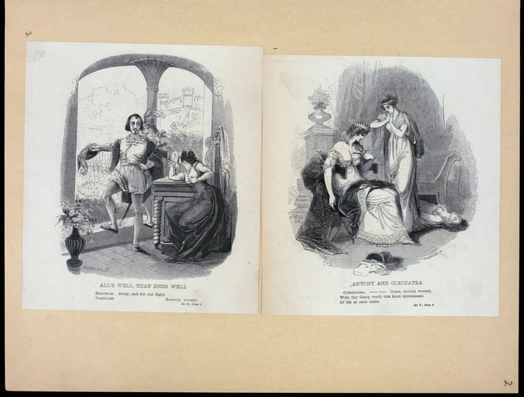 Scenes from Shakespeare's plays, illustrated by Alexander Anderson. Part of the scrapbook from the New York Public Library's Prints Division.