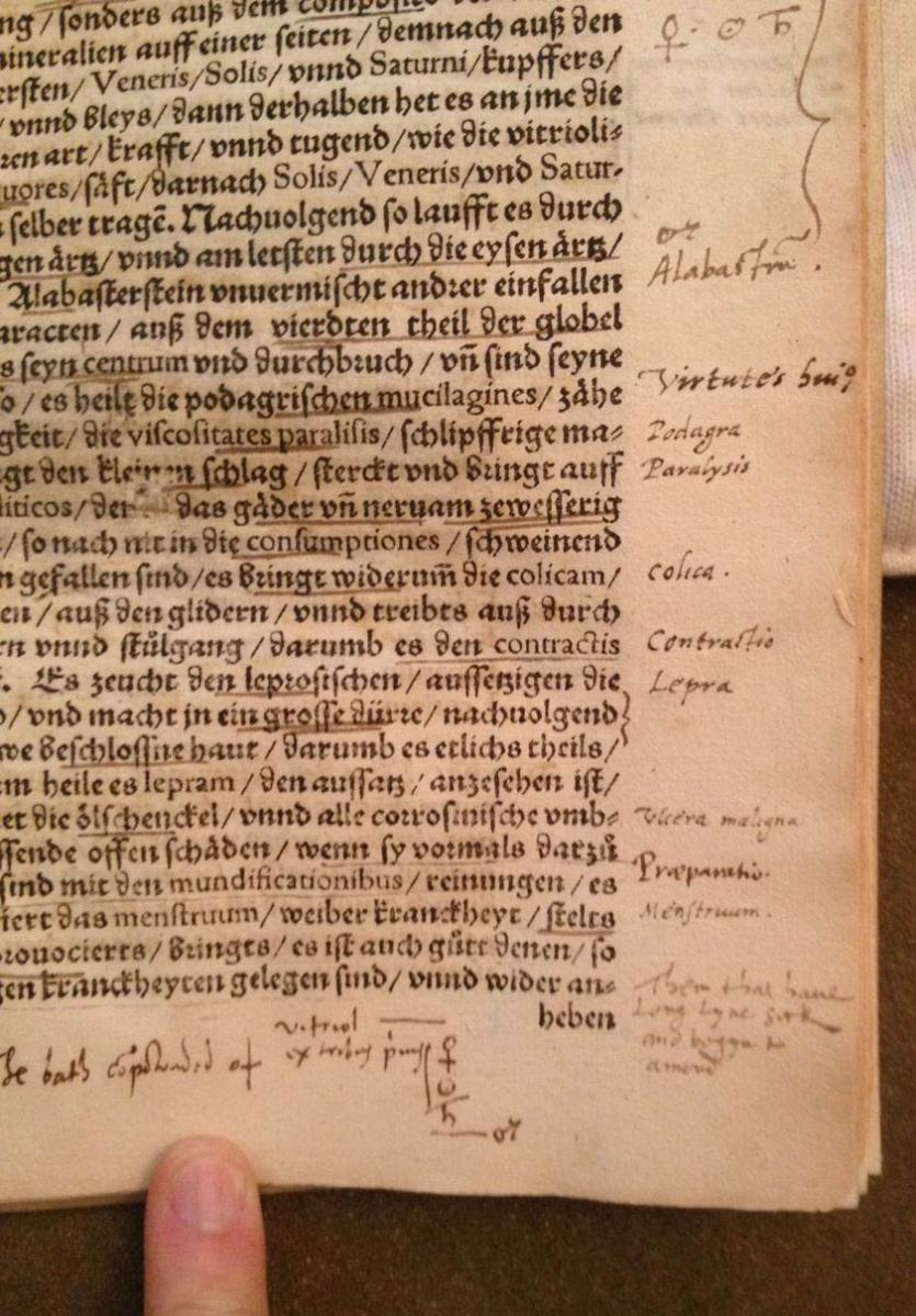 John Dee's annotations in his own copy of Paracelsus' Baderbuchlin.