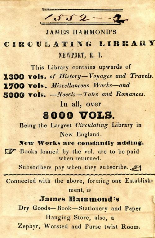 John Hammond's Circulating Library bookplate.