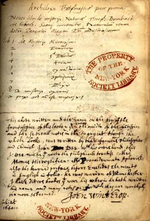 Winthrop's inscription in his copy of Paracelsus's Baderbuchlin (Mülhausen im Oberen Elsåsz : Peter Schmid, 1562), identifying John Dee as a former owner and annotator.