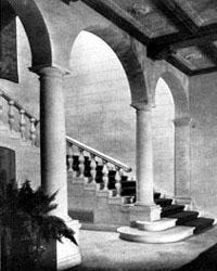The entrance hall and stairway of the John S. Rogers house.