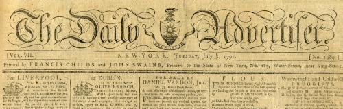 """Masthead of the """"Daily Advertiser,"""" July 5, 1791."""