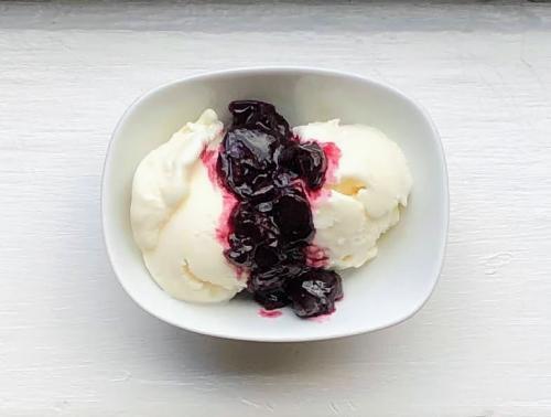 frozen yogurt with cherry brandy preserves