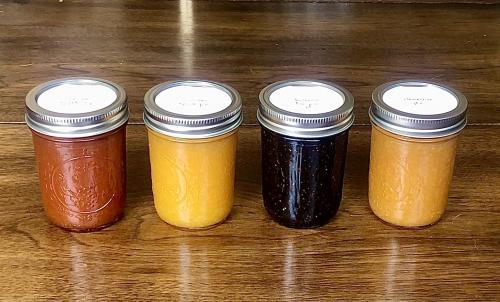vanilla grapefruit jam, amaretto apricot jam, balsamic fig jam, and clementine jam
