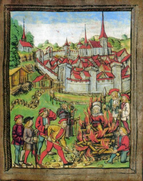 A colored woodcut illustration of the burning of a woman in Willisau, Switzerland, 1447.